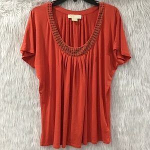 Michael kors orange studded summer top